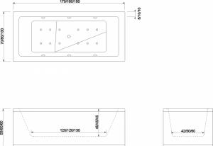 Poza Cada de baie Quadra Model: 1800mm x 800mm x 450mm. Poza 10859