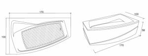 Poza Cada de baie Greta Model: 1700mm x 1000mm x 450mm. Poza 11024