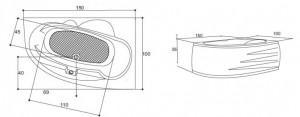 Poza Cada de baie Lotus Model: 1500mm x 1000mm x 420mm. Poza 11029